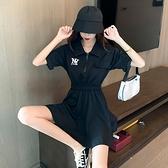 洋裝連身裙S-XLpolo領休閒運動小黑裙赫本風小個子氣質收腰顯瘦a字裙NA02D.3789一號公館