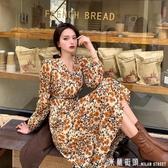 2020春裝新款大碼韓版V領高腰洋裝胖MM甜美中長款雪紡碎花裙子
