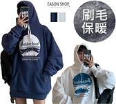 EASON SHOP(GW8994)實拍撞色雪山卡通英文印花刷毛加絨加厚落肩長袖素色棉連帽T恤裙女上衣OVERSIZE