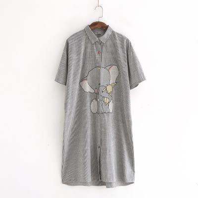 【E312-0229】日系長版襯衫-(2色)大象翻領條紋短袖上衣(SIZE:約XL)☆貝兒