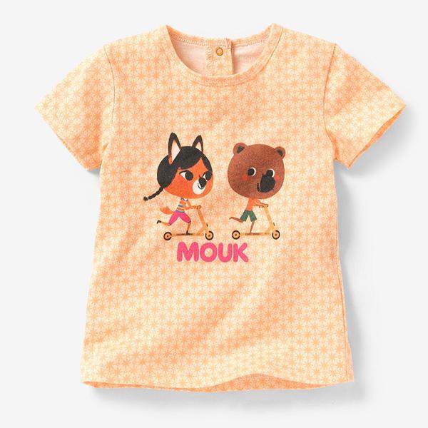 女Baby女童裝短袖T恤粉橘色MOUK點點印花純棉短袖上衣現貨 歐美品質