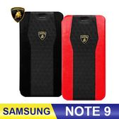 SAMSUNG Galaxy Note 9 磁扣皮套 側翻皮套 藍寶堅尼手機皮套 Lamborghini徽章