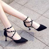 鉚釘貓跟鞋一字扣尖頭高跟鞋-艾尚精品 艾尚精品
