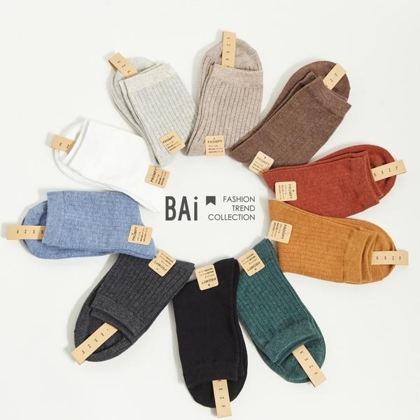 短襪 多色直線坑條彈性中筒襪-BAi白媽媽【308006】