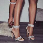 丁果女鞋35-40►2019歐美新款性感時尚水鑽細跟一字帶繞踝涼鞋*2色