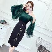 2018秋裝新款韓版名媛氣質立領喇叭袖上衣 高腰包臀裙半身裙套裝