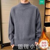 男士毛衣冬季新款潮流加絨加厚半高領針織打底衫男裝內搭保暖上衣 蘿莉新品