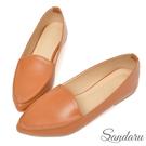訂製鞋 簡約皮革尖頭休閒鞋-棕...