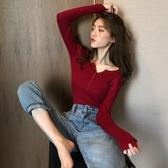 秋裝新款韓版chic紐扣針織衫純色長袖套頭修身顯瘦打底衫上衣女裝