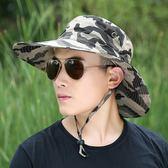 夏季大檐帽子男士釣魚帽漁夫帽男帽太陽帽登山旅游防曬迷彩遮陽帽