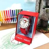 TIMEX 天美時 / TXTW2R41400 / SNOOPY 史努比聯名 INDIGLO專利冷光照明 尼龍手錶 白x銀框x紅 38mm