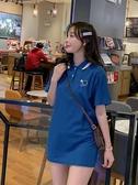 肉完同款寬鬆韓版翻領Polo衫短袖t恤女