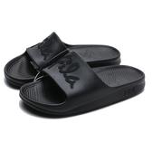 FILA (偏小建議大半號) 全黑 草寫LOGO 橡膠 拖鞋 (布魯克林) 4S326U000