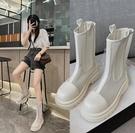 馬丁靴 現貨 女夏薄款 鏤空透氣靴子 厚底網靴大筒腿胖