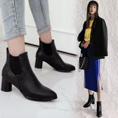 丁果、大尺碼女鞋34-46►韓版明星款絨皮尖頭中跟短靴*2色