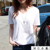 棉麻  韓版寬鬆白色短袖竹節棉麻上衣