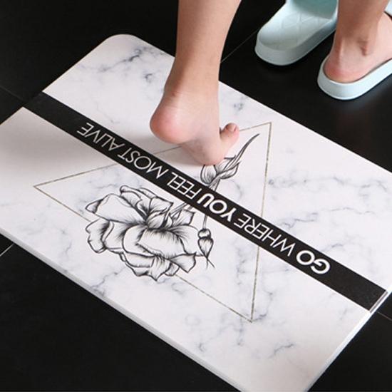 硅藻土 吸水地墊 腳墊 浴室 廁所 腳踏墊 速乾墊 個性大理石紋硅藻土地墊【Z195】米菈生活館