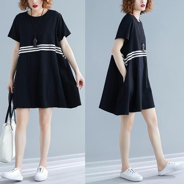 洋裝 中大尺碼 2021年夏裝新款短袖洋氣減齡文藝寬鬆顯瘦遮肚胖mm大碼女裝連身裙