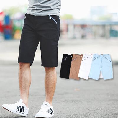 短褲 造型口袋條紋滾邊休閒短褲【NB0257J】