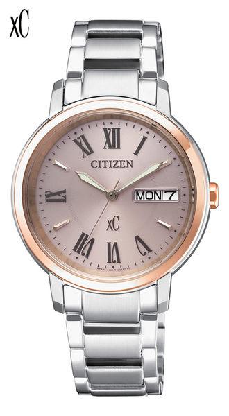 CITIZEN 星辰 xC 光動能(EW2424-50Y)星期日曆女錶款玫瑰金32.5mm亞洲限定商品
