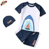 兒童泳衣 男童泳褲套裝男孩分體小中大童小恐龍游泳衣韓國寶寶送帽 快速出貨