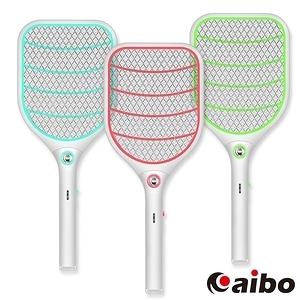 【aibo】USB充電LED照明 三層網面防觸電蚊拍(UR-19A1)粉綠