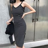 EASON SHOP(GU8485)實拍撞色橫條紋針織坑條紋下襬側邊開衩無袖細肩帶連身裙洋裝彈力貼身短裙包臀裙