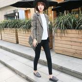 小西裝女外套2019新款春秋毛呢新款韓版chic格子復古修身顯瘦短款