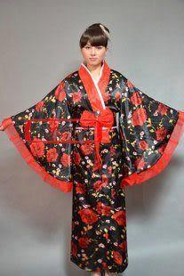 黑色日本傳統和服/仿真絲/品衣江南