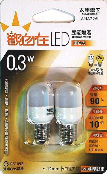 觀自在LED節能燈泡 E12/0.3W (暖白光)2入