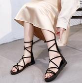 涼鞋羅馬涼鞋女ins潮夏季新款時尚百搭仙女風平底網紅後拉錬涼靴 可然精品