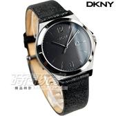 DKNY 紐約佳人 都會腕錶 女錶 金屬黑 真皮錶帶 NY2373