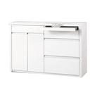 【采桔家居】派翠克 時尚白3.9尺多功能餐櫃/收納櫃