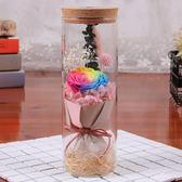 雙12聖誕禮品 永生花玻璃筒聖誕節創意禮品干花玫瑰花發光許愿瓶節日禮品批發 卡菲婭