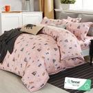雙人 152x188cm 頂級100%天絲 40s400針紗 床包四件組(兩用被套)-小夥伴(粉【金大器】