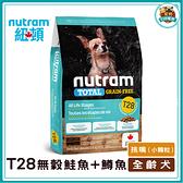 寵物FUN城市│紐頓nutram T28無穀迷你(鮭魚+鱒魚) 狗飼料【2kg】小顆粒 全齡犬適用 狗糧