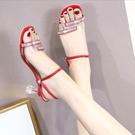 凉鞋夏季新款兩穿涼鞋女細跟露趾水鑚涼鞋時尚百搭水晶跟高跟鞋女  【快速出貨】
