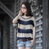 針織上衣 夏季新款寬鬆短袖網衫鏤空罩衫大碼蝙蝠袖冰絲上衣LJ8287『小美日記』