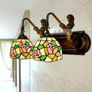 設計師美術精品館歐式地中海彩色帝凡尼美人魚雙頭壁燈/鏡前燈/床頭燈飾燈具055-5