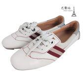 【巴黎站二手名牌專賣店】*BALLY 真品* 側邊紅白織帶 白色平底休閒鞋 運動鞋(36號)