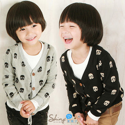 【R0737】shiny藍格子-嬰幼館.春秋新款男童骷髏開衫長袖外套
