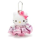 〔小禮堂〕Hello Kitty 絨毛玩偶娃娃吊飾髮飾戒指組《粉》掛飾.鑰匙圈.髮束.大腸圈 4901610-06344