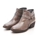 MICHELLE PARK 經典騎士 釘扣圓環拉鍊中跟短靴-深灰