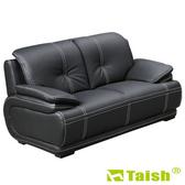 【TAISH】東方之冠雙人座獨立筒皮沙發黑色
