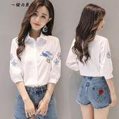 白襯衫女夏裝2018新款刺繡花鳥民族風寬鬆顯瘦小清新短袖純棉襯衣【櫻花本鋪】