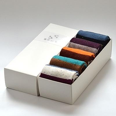 長襪禮盒(5雙裝)-純棉粗毛線時尚撞色條紋男士襪子套組5色72s23【時尚巴黎】