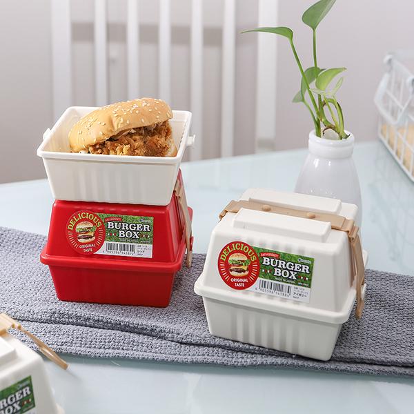 日本進口漢堡便當盒三明治保鮮盒密封食品水果收納盒便攜帶蓋飯盒 智慧e家