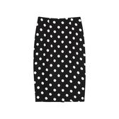 后開叉波點半身裙子女夏chic包臀裙2018新款中長款一步裙高腰包裙