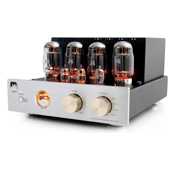 JS 淇譽 V2801 真空管綜合擴大機 採用J.J. 12AU7真空管,著名的雙三級管,音色甜美。送藍芽喇叭~