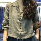 原野棉麻 原創大氣西裝領苧麻襯衫女 20秋季新品優雅下擺抽繩外套陽光好物